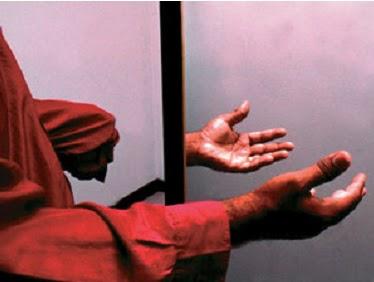Espelho e mão amputada