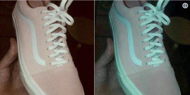 tenis rosa e verde comparação